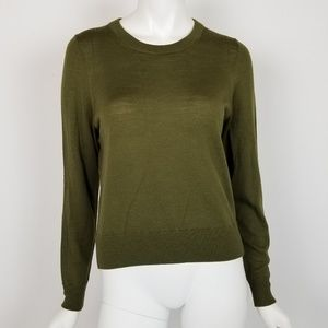 J. Crew Olive Green Merino Wool Crewneck Sweater
